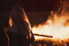 girl at bonfire