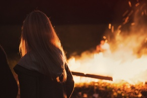 girl at bonfire