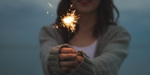girl with sparkler