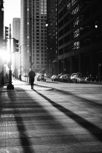 woman walking in chicago