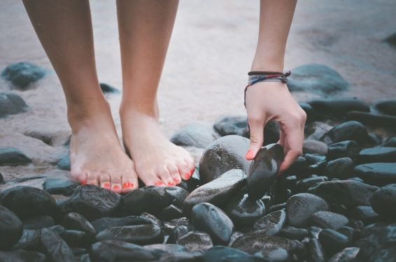 rocks painted toes
